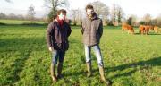 Julien Fortin et Médéric Letellier sont pleinement satisfaits des semis sous couvert de prairie pour limiter les effets de la sécheresse à l'automne. CP : M-D.Guihard/Pixel6TM.
