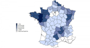 Les départements qui concentrent la production de lait bio la plus importante sont le Grand Ouest, le Nord, les Vosges, la Haute-Saône et le Massif central (source FranceAgriMer d'après EML FranceAgriMer - SSP). ©DR