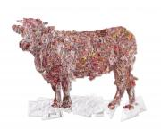 «Le Pin-up sicabien», 170 x 226 cm, 2014. L'œuvre a été réalisée par Lisa Salamandra pour Sicaba et l'Adet, à l'occasion des 40 ans du premier label Rouge bœuf en France: le charolais du Bourbonnais.