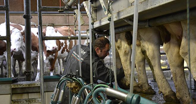 Le compteur cellulaire portatif RT10 de Dairy Quality permet de vérifier la qualité du lait quartier par quartier et ainsi d'écarter uniquement le lait de certains quartiers. Photo : M.Ballan/Pixel Image.