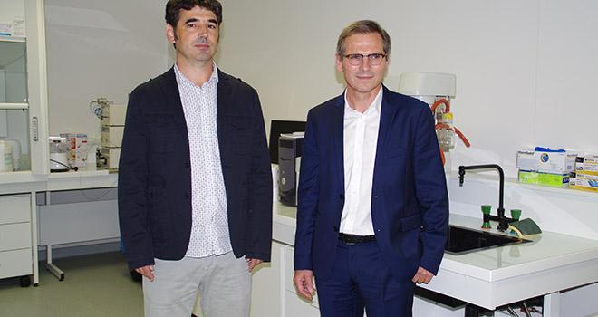 David Guilet (à gauche) et Pierre Chicoteau présentent le Lab Com FeedInTech lots d'une conférence de presse à Angers le 6 septembre. Photo : M.-D. Guihard/Pixel Image