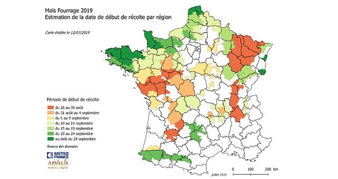 Arvalis propose la carte des dates prévisionnelles de début des récoltes des maïs fourrage établie le 12 juillet 2019. ©Arvalis