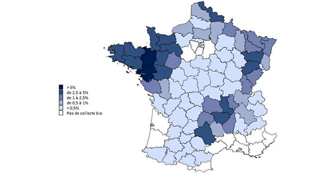 Les départements qui concentrent la production de lait bio la plus importante sont le Grand Ouest, le Nord, les Vosges, la Haute-Saône et le Massif central (source FranceAgriMer d'après EML FranceAgriMer - SSP). ©DR