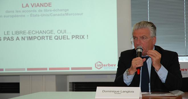 """""""Il est inadmissible que cette négociation se déroule sans qu'aucun parlementaire n'en connaisse le contenu"""" a déclaré Dominique Langlois, président d'Interbev, lors de la conférence de presse du 20 mai. Photo : N.Tiers/Pixel image."""