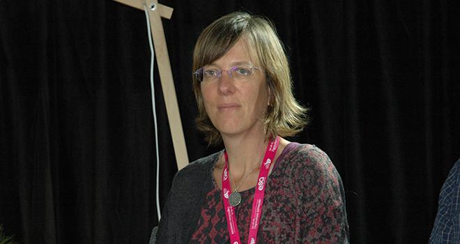 Nathalie Hostiou, zoologiste à l'Inra a présenté ses travaux sur la perception de l'élevage de précision auprès des éleveurs.