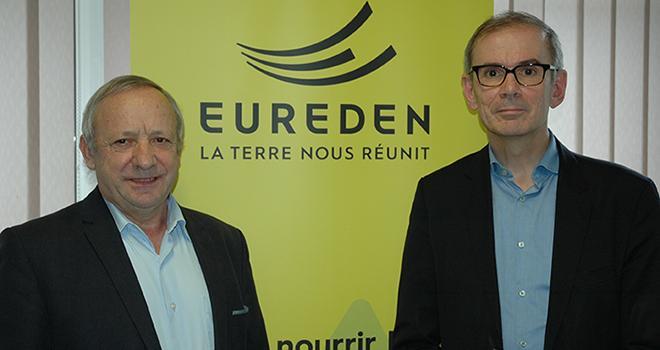 Georges Galardon président de Triskalia et Alain Perrin, directeur général de d'aucy, ont présenté le 31 janvier le nom du nouveau groupe coopératif et l'identité visuelle qui lui sera associée.