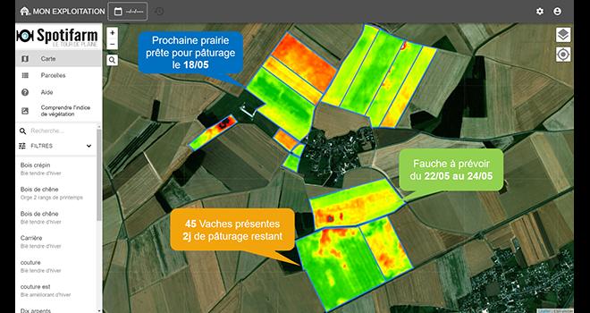 Spotifarm est une nouvelle application de gestion de pâturage. Elle permet de surveiller la pousse de l'herbe et l'évolution des pâtures à distance. Photo : DR.