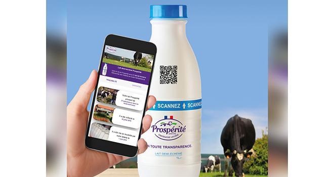 En scannant le QR Code, le consommateur pourra retrouver toutes les informations du lait depuis la ferme. ©Prospérité Fermière Ingredia.